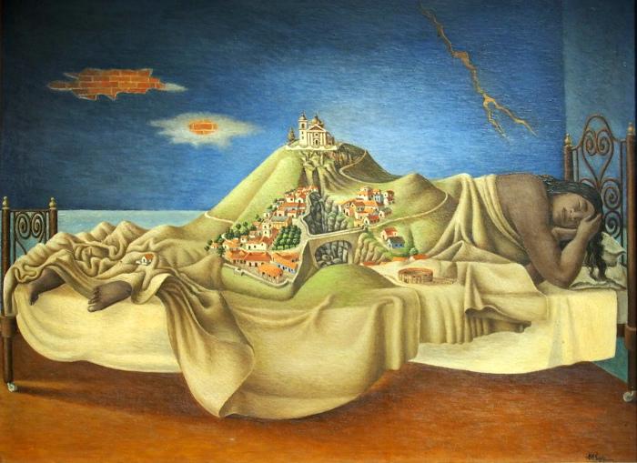 Возможно, потомки и испанцев, и индейцев чувствуют внутри вину за судьбу Малиналь. Антонио Руис. Сон Малинче, 1939